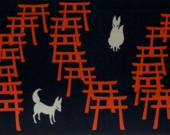 Japanese Art Tenugui Japanese Fabric Fushimi Inari Shrine Fox and Torii Gates Motif Black Fox Fabric w/Free Insured Shipping