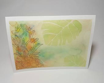 Card greeting, watercolor, pineapple, summer
