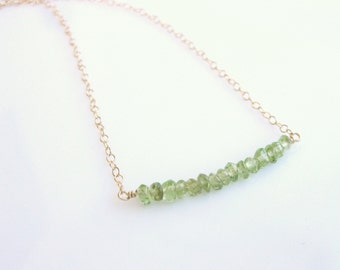 Green Peridot Beads on Gold Filled Bar Necklace - 16 inches