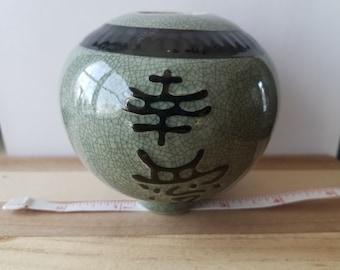 Ceramic Bowl Vase Exotic Printed vase symbol collectible glass asia culture decoration vase bowl glass jar collector display knick knack