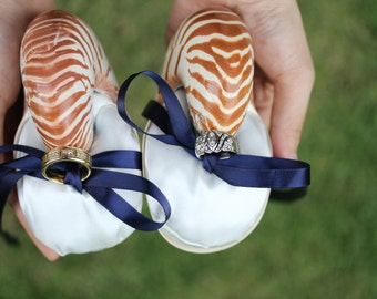 Beach Wedding Ring Bearer - Nautilus Shell Eco Ring Bearer Pillow