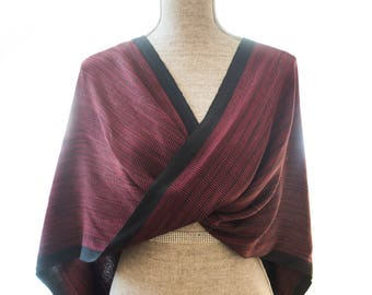 Red and Black Bamboo Mobius Shawl