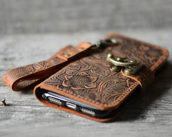 Genuine   leather Wallet iPhone 7 Plus Case   leather Case Wallet, iPhone 8 /8 plus  X   case iphone 6s /  7 plus leather case  wristlet