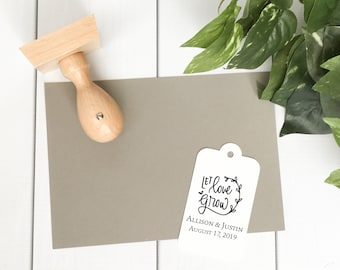 Let Love Grow Wedding Favor Stamp - custom seed packet wedding favor stamp - personalized wedding stamp - DIY wedding - H5003