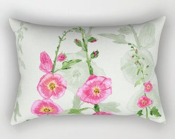 Hollyhock Floral Pillow Case - pink and green, feminine bedroom decor, spring decor
