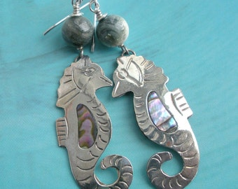 Vintage  Seahorse Abalone Operculum Earrings from Mexico