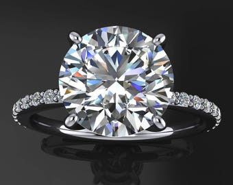 eliza ring - 2.7 carat round NEO moissanite engagement ring, conflict free
