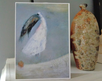 Weight of Wings,  5x7 inch fine art  print mounted  on 1.5 inch deep block panel, ready to stand or hang