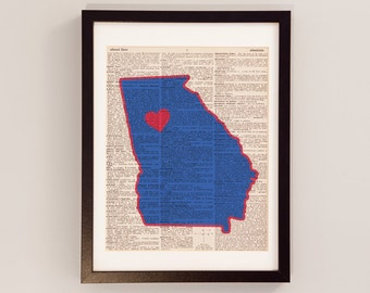 Georgia State Panthers Print - Atlanta Georgia Art - Print on Vintage Dictionary Paper - Georgia State University - Graduation Gift