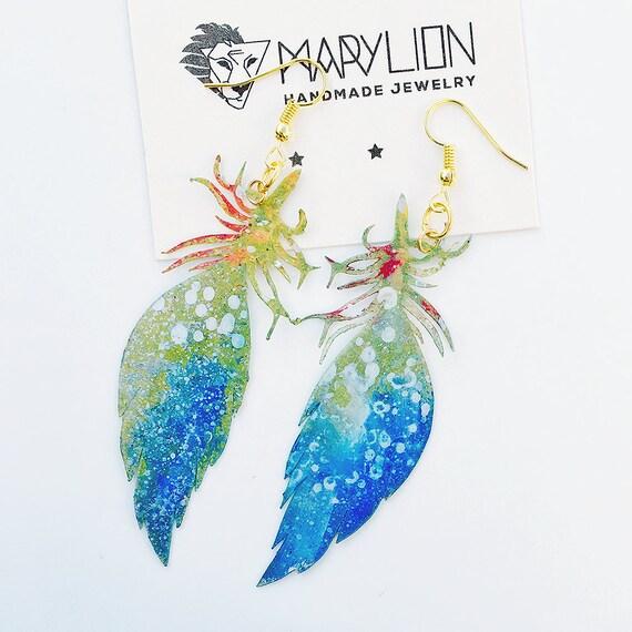 Feather airy earrings - Feather drops earrings - Trending jewelry - Feather jewelry - Rockabilly Jewelry -  Feathery light fashion earrings