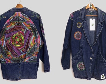 EXCLUSIVE: 10/15 Oversized Vintage Denim Jacket featuring sustainable and unique handmade panels and trims
