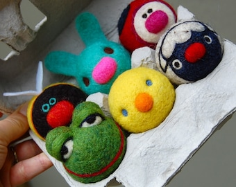 Tiny Spring  WOOLY Baby Animals in egg carton Made to Order