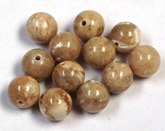 VINTAGE Limestone 'River Stone' Beads 6mm pkg12 rb106