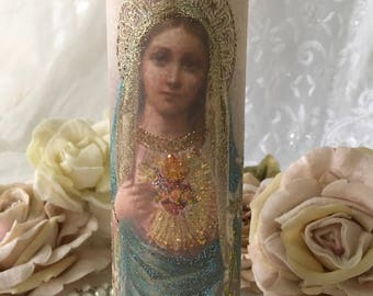 Virgin Mary Prayer Candle, Christmas candle, Altar, Shrine, Religious Art, Sacred Heart Of Mary, Catholic Prayer Candle, gift, Fanny Pippin