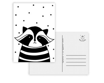 Black and white raccoon card