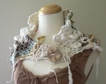 sustainable warmth capelet . eco organic vegan fibers . bohemian mori girl fashion