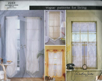Vogue 2243 Window Sheers, Designer Curtain Pattern, UNCUT