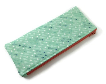 Mint Arrow Zipper Pouch, Pencil Pouch, Pencil Case, College, Kids, School Supplies, Teens, Women, Organize