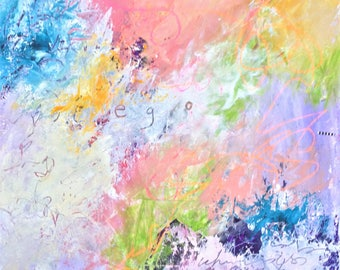 Ego - an Ethereal dreamy Abstract Expressionist Painting on Paper 24x18 with lots of color and  word art by Judy Jacobs