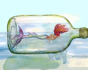 Mermaid in a Bottle, Ocean Art, Sea Nymph, Mermaid Wall Art, Mermaid Decor, Coastal Beach Home Decor, Girls room decor, Nursery