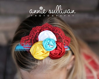 THE EMMA--Red, Yellow, Turquoise, and White Flower Headband