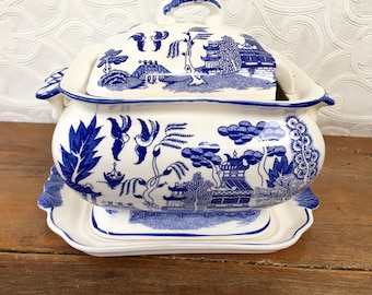 Vintage Blue and White China Soup Tureen