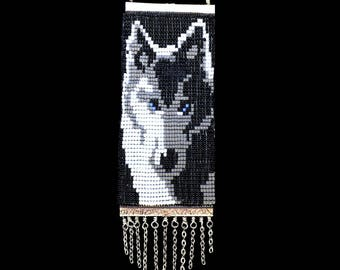 Wolf Beaded Necklace Suede Backed