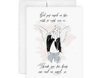 Cool Angel - Greeting Card, Fashion Illustration, Thank You Card, Painted Card, Religious Card, Blessed