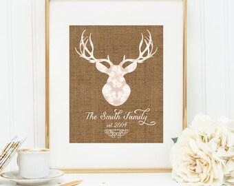 Personalized Printable wall art decor: Deer Head Silhouette Family Est {date}  Lace & Burlap design (Custom digital download - JPG)