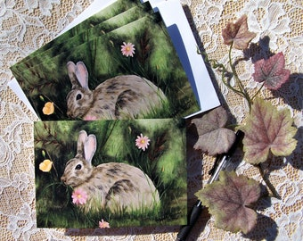 Rabbit Note Cards, Blank Note Cards, Stationary Cards, 4 cards a pack