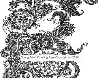 Digital Fantasy  Coloring Design 24 , Adult Coloring Page. Printable Coloring Page. Instant Download