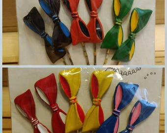 6pc Package Set of Vintage Colorful BOWS Bobby Pins - hand painted, made in Korea