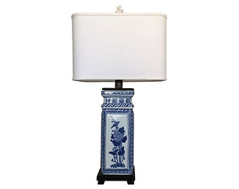 Blue & White Porcelain Lamp w/Shade