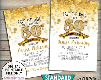 """Birthday Party Save the Date, Birthday Save the Date, STD, 30th 40th 50th 60th 70th B-day, Bday Invite, Gold PRINTABLE 4x6"""" Save the Date"""