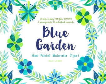 Blue Garden Watercolor Clipart, watercolor floral graphic set in green and blue, floral wreath spring flowers aqua and lime green
