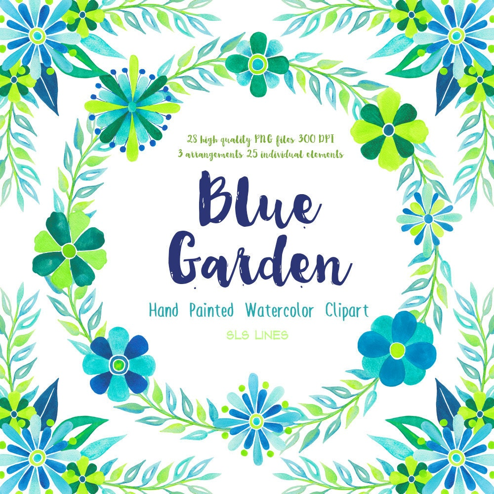 Blue garden watercolor clipart watercolor floral graphic set in this is a digital file izmirmasajfo Gallery