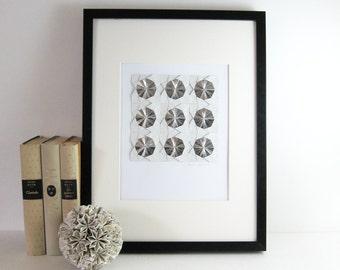 Origami Sketch No1 Silver Paper Collage - Geometric Circles - Modern Op Art - Minimalist Origami Art - Grey Home Decor - White Wall Decor