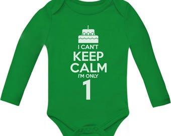 Birthday Cake - I Can't Keep Calm I'm one Bodysuit Cute Baby Long Sleeve Bodysuit