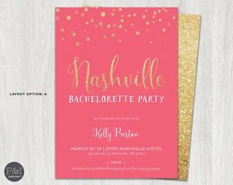 Nashville Bachelorette Party Glitter Invitation | Printable | DIY | Digital 5x7