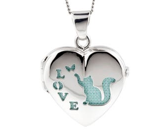 Silver Heart Pet Locket Cat Lover, Blue