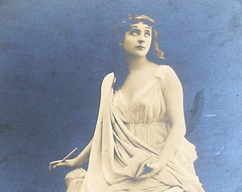 SALE 1900s French postcard, Actress as a statue. Real photo postcard (RPPC) paper ephemera.