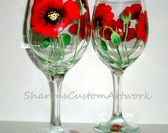 Red Poppies Hand Painted Wine Glasses Set of 4 - 20 oz. Bridesmaids Wedding Gift Maid of Honor Red Flowers Poppy Wedding Glasses Valentines