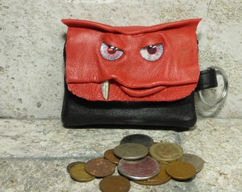 Coin Purse Zippered Change Purse Red Black Leather Monster Face Pouch Key Ring Harry Potter Labyrinth 29