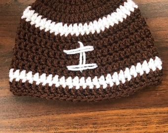 Crochet football hat- 3 to 6 month size