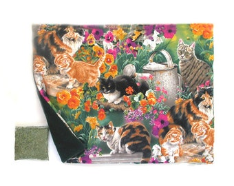 Catnip Mat plus Catnip Cats Kittens in Flower Garden  Refillable Reversible