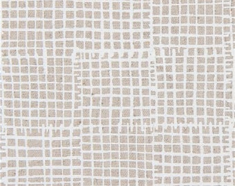 215343 natural color with white grid design Canvas fabric Andover USA Maker Maker