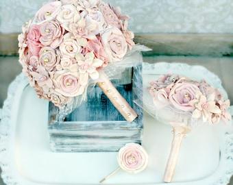 Blush Romance Wedding Bouquet Collection // Wedding Flowers, Bridal Bouquet Set, Pink Wedding Bouquets, Sola Bouquet, Keepsake Bouquet, Set