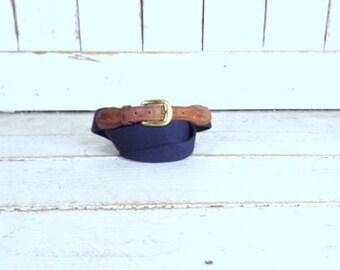 Vintage Torino dark blue canvas leather belt/brass buckle chord belt/42
