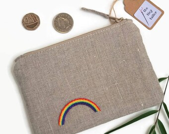 Handmade Rainbow Gift | Rainbow Coin Purse, Handmade Coin Wallet, Pretty Little Gift, Zip Pouch, Zipped Pouch, Small Rainbow Gift etc.