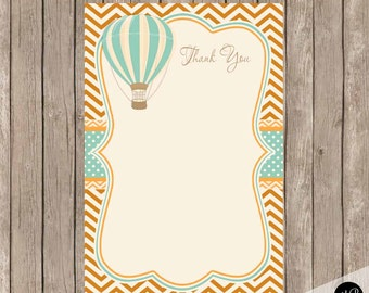 Hot air balloon thank you note, orange and teal thank you note, vintage balloon thank you note, Thank You Note Cards-  b1 INSTANT DOWNLOAD